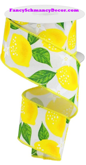 "2.5"" X 10 yd Lemons On Royal White/Yellow/Green Wired Ribbon"