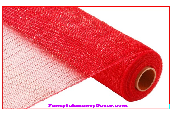 "21"" X 10 yd Metallic Red W/Red Foil Mesh"