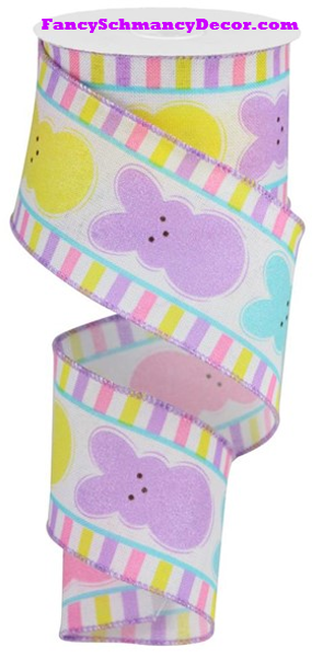 "2.5"" X 10 yd Glitter Sugar Bunnies/Royal White/Yellow/Pink/Turquoise/Lavender Wired Ribbon"