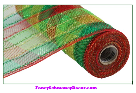 "10.5"" X 10 yd Red Lime Gold Emerald Tinsel/Pp Check Mesh"