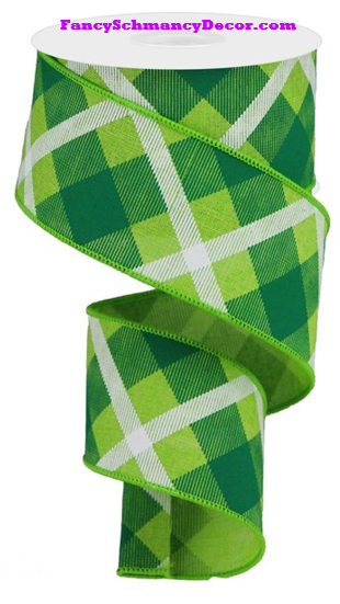 "2.5"" X 10 yd Printed Plaid On Lime Green White Royal Wired Ribbon"