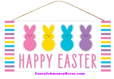 "12.5""L X 6""H Happy Easter/3 Bunny Sign"
