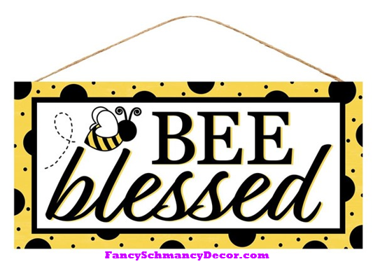 "12.5""L X 6""H Bee Blessed Sign"