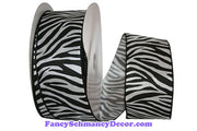 "2.5"" x 50 yds Zebra Satin Wired Ribbon"