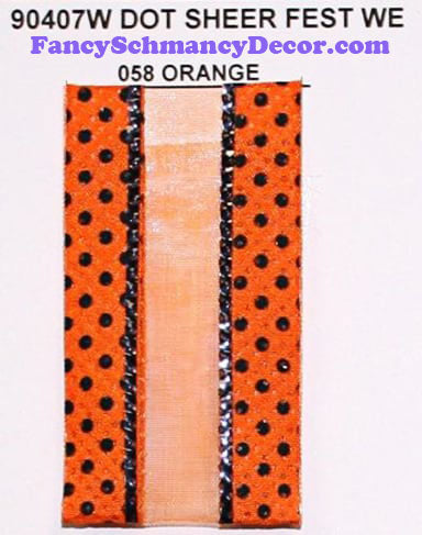 "1.5"" x 25 yds Orange Black Dot Sheer Fest Wired Edge Ribbon"