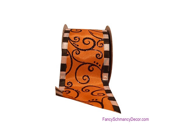 "2.5"" X 10 yards Halloween Swirl Mix Wired Edge Ribbon"