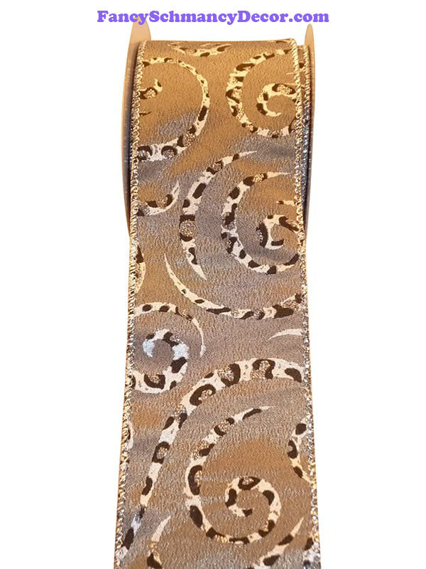 "2.5"" x10  yds Cheetah Brown Swirl Wired Edge Ribbon"