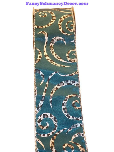 "2.5"" x 10 yds Cheetah Teal Swirl Wired Edge Ribbon"