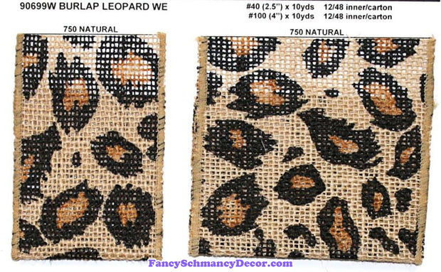 "2.5"" x 10 yds Natural Black Burlap Leopard Wired Edge Ribbon"