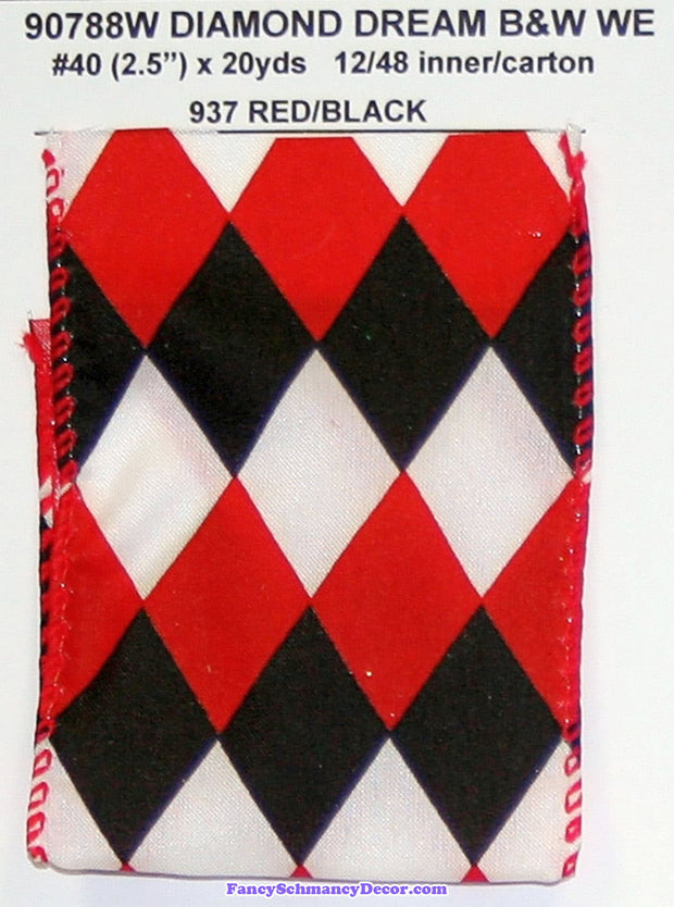 "2.5"" x 20 yds Red Black Diamond Dream B&W Wired Edge Ribbon"