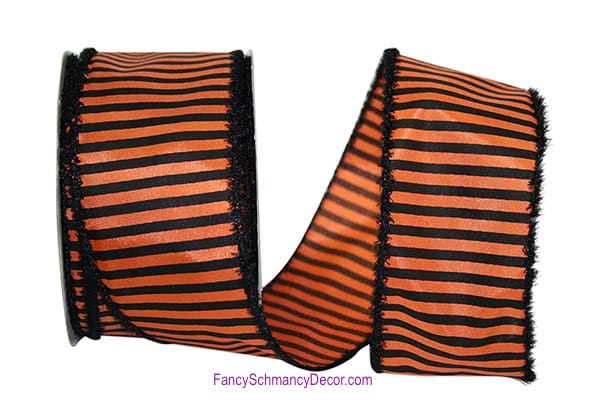 "2.5"" X 20 yards Striped Frill Orange Black Wired Edge Ribbon"