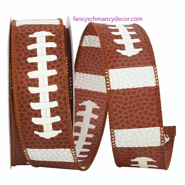 "1.5"" x 10 yds Football Pigskin Wired Edge Ribbon"
