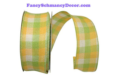 "2.5"" x 25 yds Citrus Check Burlap Wired Ribbon"