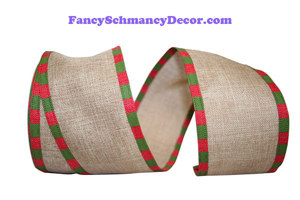 "2.5"" x 10 yds Red Green Linen Check Edging Wired Edge Ribbon"