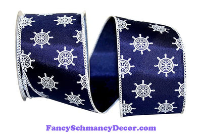 "2.5"" x 10 yds Navy White Ships Wheel Wired Edge Ribbon"