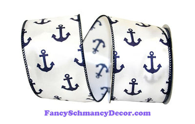"2.5"" x 10 yd Anchors Away White Navy Wired Edge Ribbon"