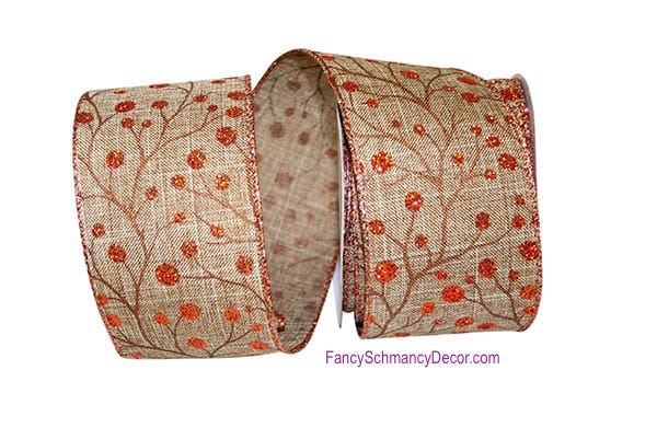 "2.5"" X 10 yards Berries Copper Linen Wired Edge Ribbon"