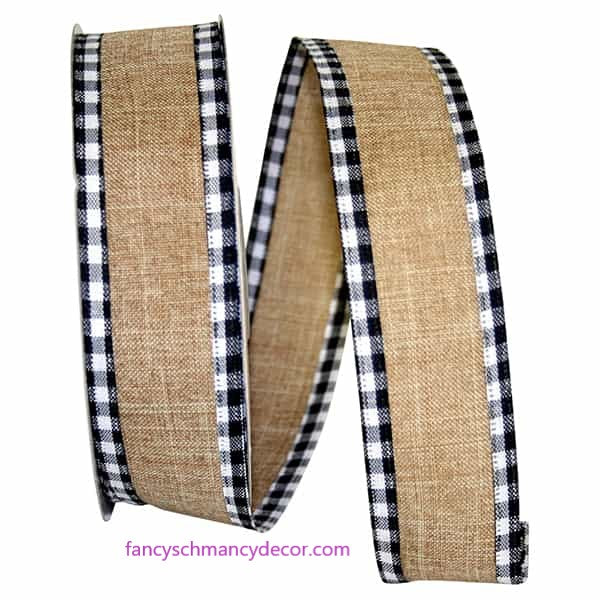 "1.5"" x 20 yds Linen Checked Wired Edge Ribbon"