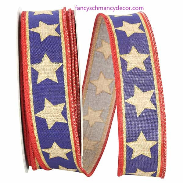 "1.5"" x 20 yds Linen Stars and Stripes Wired Edge Ribbon"
