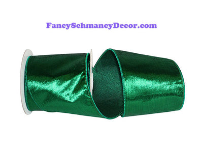 "4"" x 5 yds Emerald Green Designer Plush Velvet Elite Wired Edge Ribbon"