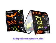 Boo Bats Halloween Black Purple Orange White Yellow Wired Edge Ribbon