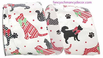 "2.5"" x 10 yds Dog Holiday Wired Edge Ribbon"