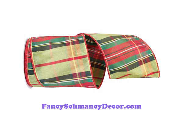 "4"" Danville Green Red Plaid Dupioni Grand Wired Edge Ribbon"
