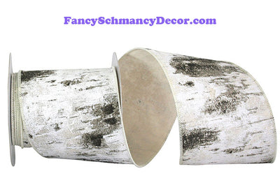 "4"" x 10 yds Birch Tree Bark Forest Wired Edge Ribbon"