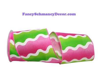 "4"" Lime Fuchsia Bright Wave Wired Edge Ribbon"