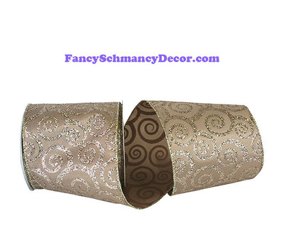"4"" Champagne Swirl Glitter Taffeta Wired Edge Ribbon"