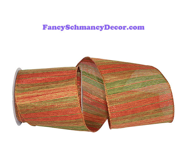 "4"" x 10 yds Orange Green Tonal Ombre Polanco Wired Edge Ribbon"
