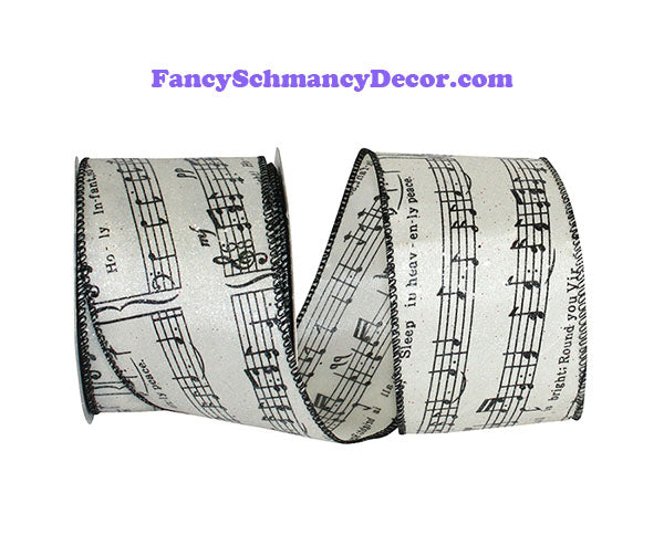 "2.5"" x 10 yds Ivory Black Frosted Musical Notes Wired Edge Ribbon"