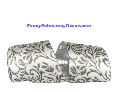 "4"" x 10 yds Silver Filigree Leaves Plush Velvet Silver Back Wired Edge Ribbon"