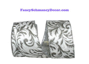 "2.5"" x 10 yds Silver Filigree Leaves Plush Velvet Silver Back Wired Edge Ribbon"