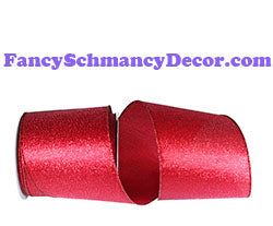 "4"" x 10 yds Red Sparkle Metallic Display Wired Edge Ribbon"