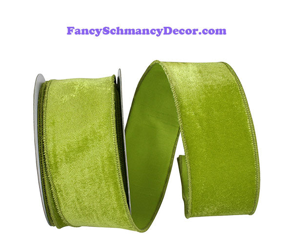 "2.5"" x 10 yds Lime Plush Velvet With Dupioni Backing Wired Edge Ribbon"
