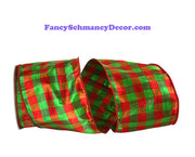 "4"" x 10 yds Red Green Lame Gingham Check Dupioni Metallic Wired Edge Ribbon"