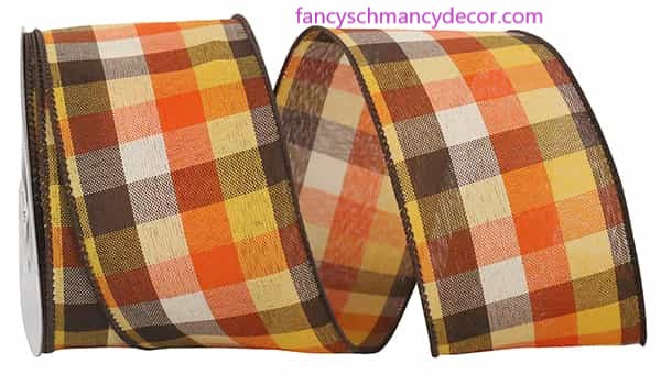 "2.5"" x 10 yds Country Field Tonal Plaid Wired Edge Ribbon"