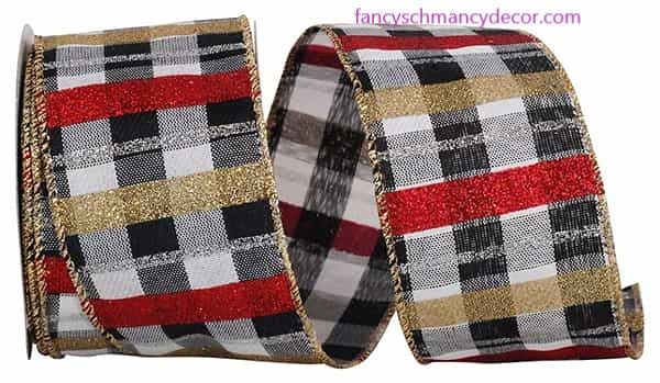 "2.5"" x 10 yds Buffalo Check Glitter Bars Wired Edge Ribbon"