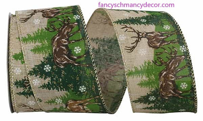 "2.5"" x 10 yds Deer Forest Scene Linen Wired Edge Ribbon"