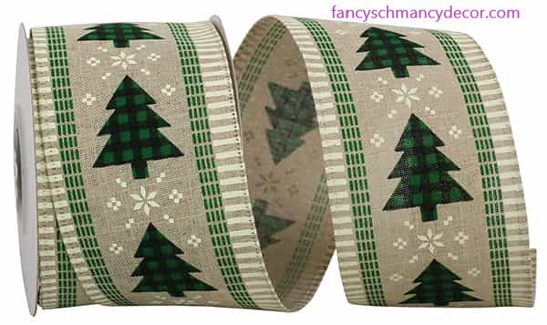 "2.5"" x 10 yds Buffalo Check Trees Ticking Linen Wired Edge Ribbon"