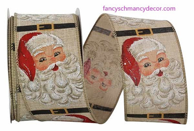 "2.5"" x 10 yds Happy Santa Vintage Linen Wired Edge Ribbon"