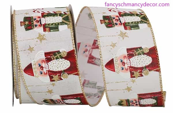 "2.5"" x 10 yds Nutcracker Sparkle Linen Wired Edge Ribbon"