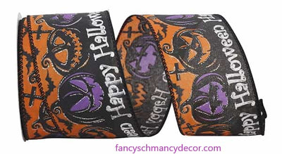 "2.5"" x 10 yds Spooky Halloween Jack-o-Lantern Wired Edge Ribbon"