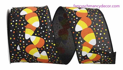 "2.5"" x 10 yds Candy Corn and Dots Wired Edge Ribbon"