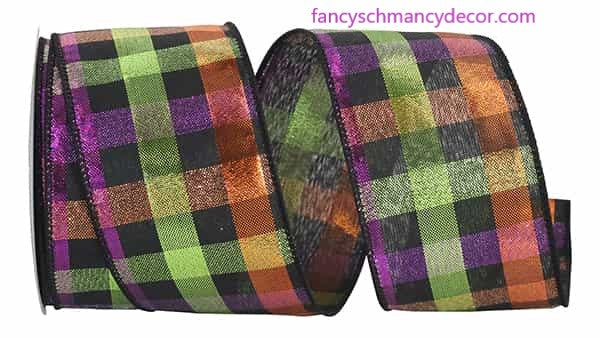 "2.5"" x 10 yds Midnight Metallic Plaid Check Wired Edge Ribbon"