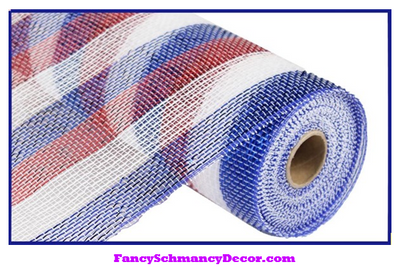 "10"" X 10 yd Red White Blue Mesh"