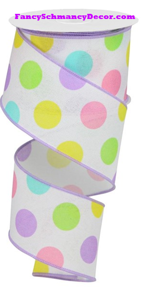 "2.5"" X 10 yd Multi Polka Dots/Royal White/Lavender/Pink/Yellow/Green Wired Ribbon"