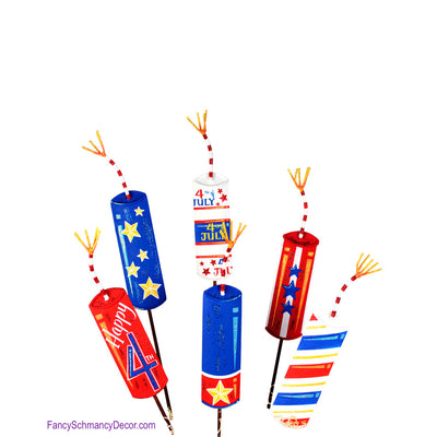 Firecrackers Frenzy Assorted Set of 6 Stakes by The Round Top Collection A16006 - FancySchmancyDecor - 1