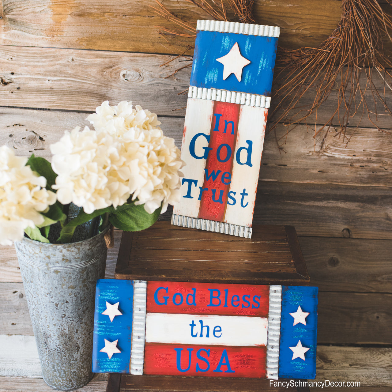 Red White and Blue Stars Sign